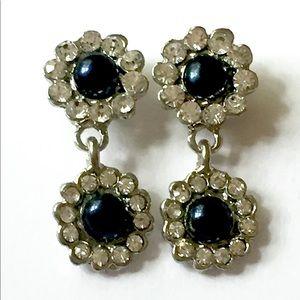 Rhinestone dangle earrings vintage